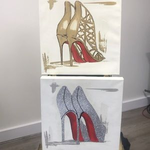 2 Red Sole Shoe 👠 Wall Art Pieces